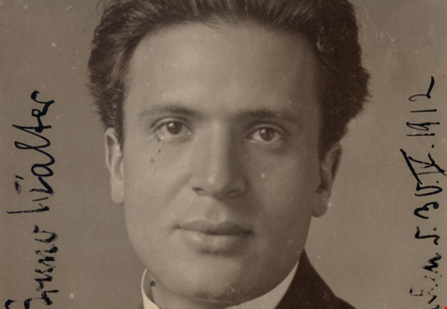 A sepia-toned photograph of Bruno Walter, close-up portrait.