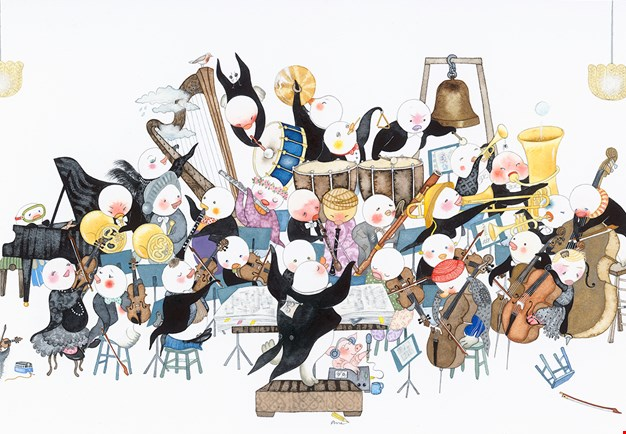 Childish illustration of a orchestra.