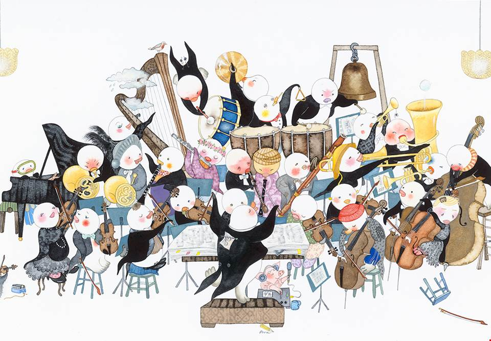 Little penguins that looks like persons playing in the orchestra. Illustration