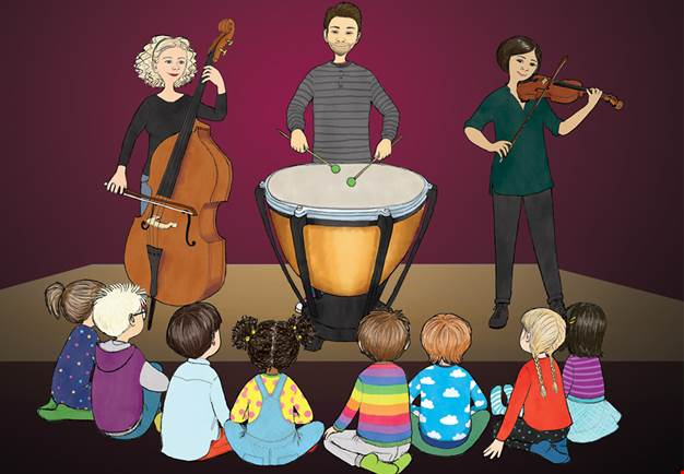 Young children sitting in front of musicians. Illustration.