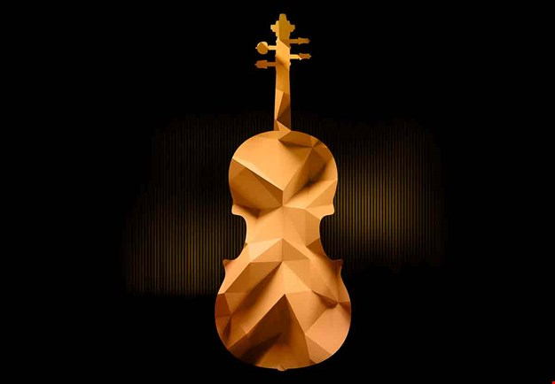 Artwork with a violin in gold.