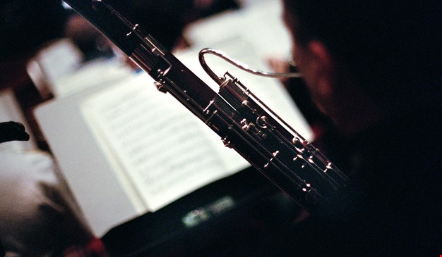 detail from a oboe. Photo.