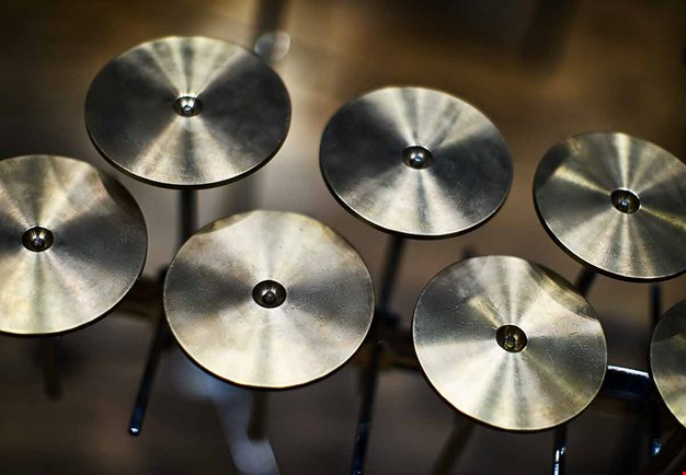 Photo of percussion and round cymbals.