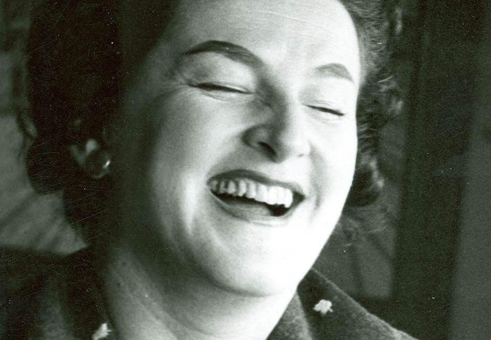 Birgit Nilsson, older photograph of a laughing Birgit.