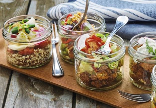 Glass jars with food
