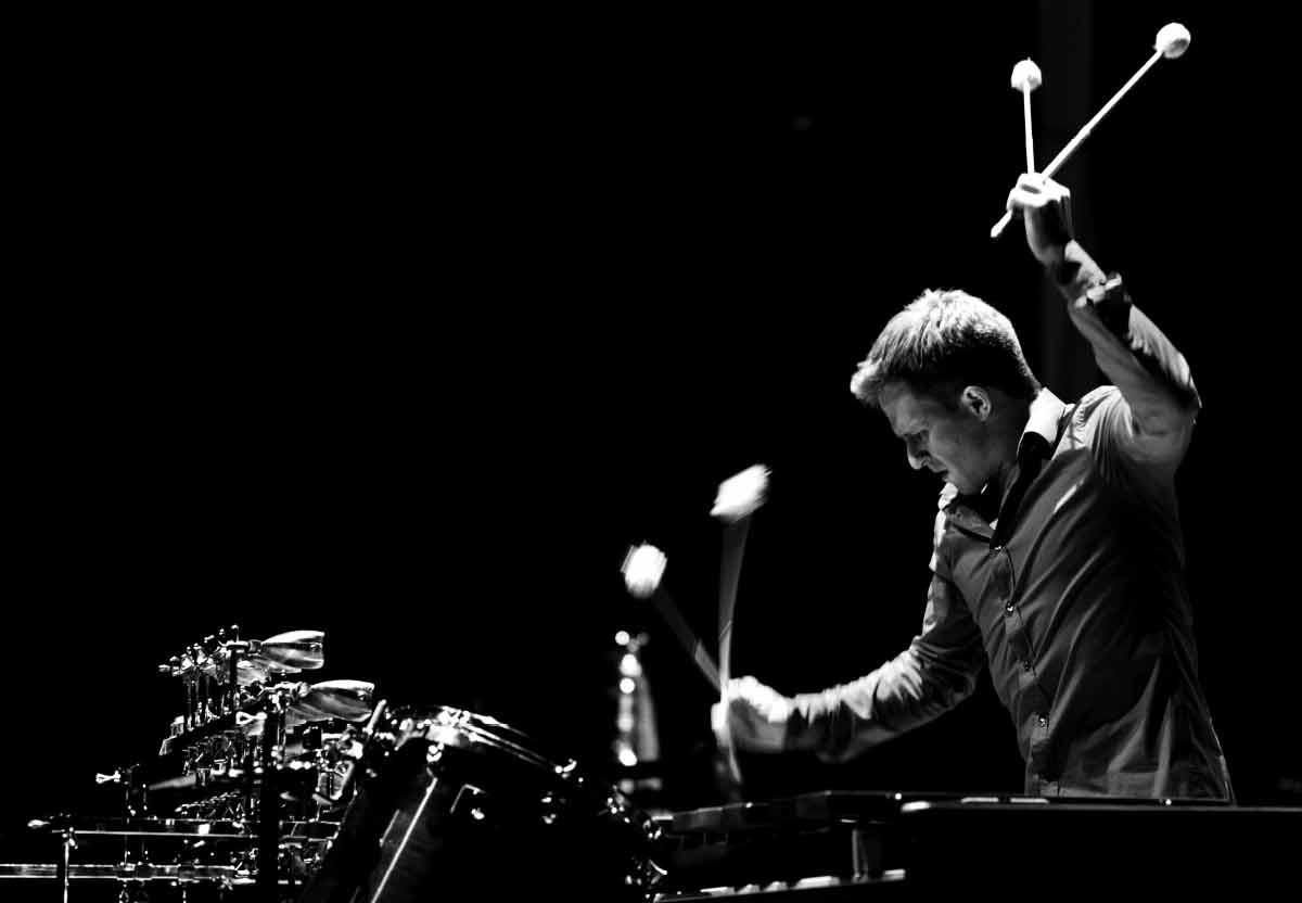 Christoph Sietzen, playing the marimba. Photography.