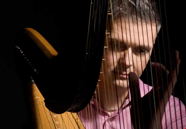 Stephen Fitzpatrick seen throu his harp. Close up picture.