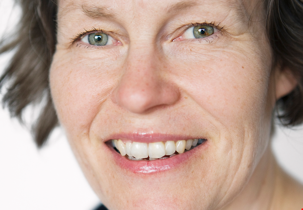 Close-up portrait, the face of composer Karin Rehnqvist.